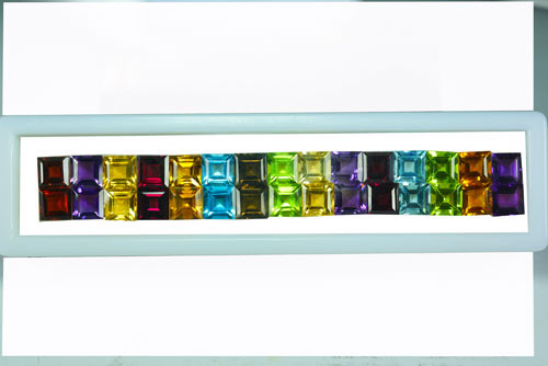 36.37Ct Natural Fancy Semi precious Square 6mm Calibrated Parcel