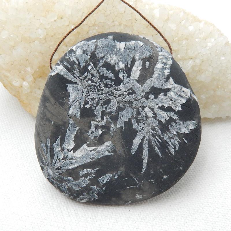Natural Chrysanthemum Fossil Gemstone Stone Pendant, 69x72x11mm H9956