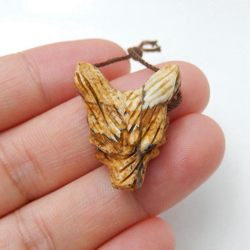 Handmade Picture Jasper Carved Wolf Head Pendant Bead H9929