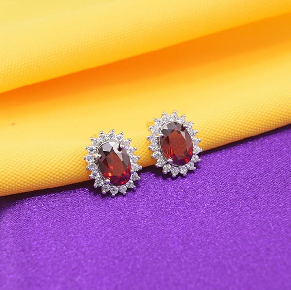 Natural Garnet 925 Sterling Silver Earrings (SSE0652)