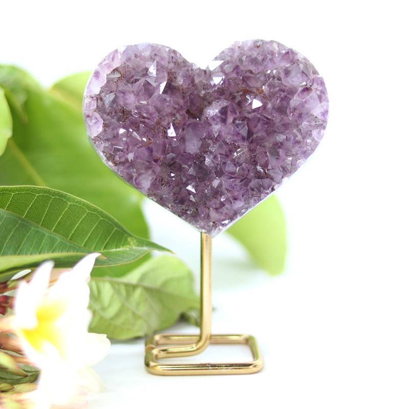 Lover heart Shape   Amethyst    Specimen  on Metal stand .7 Kilo  CF131