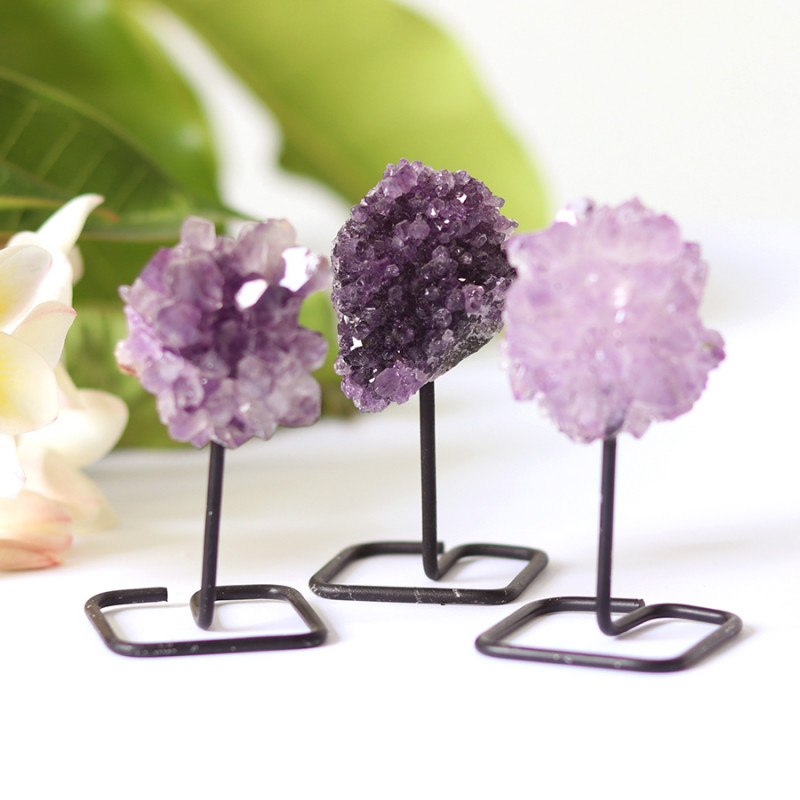 3 x Natural  Amethyst  Druzy  Specimens  on Metal stand CF133