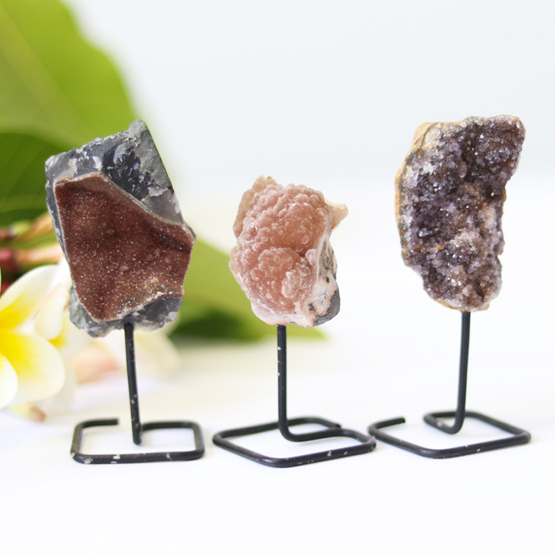 3 chocolate   Amethyst  Druzy Cluster  Specimens  on metal stand   CF170