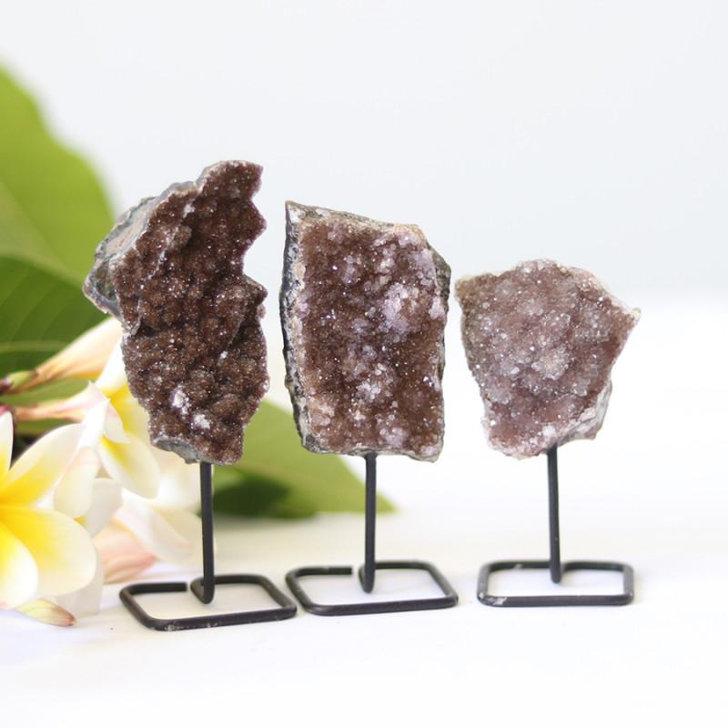 3 chocolate   Amethyst  Druzy Cluster  Specimens  on metal stand   CF171