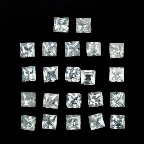 8.40 Cts Natural White Zircon Square princess 3.50mm Parcel Cambodia