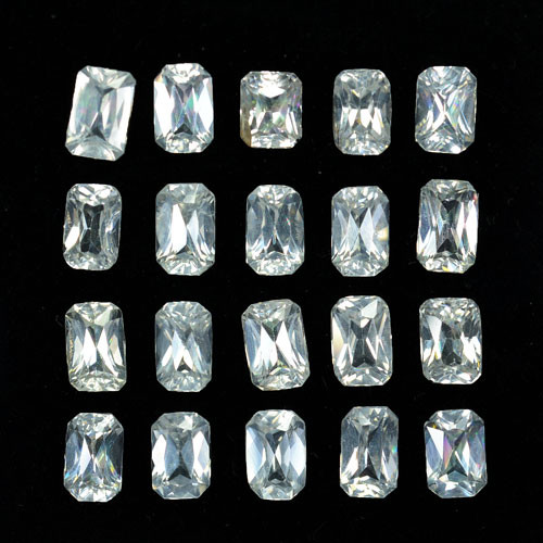 14.93Cts Natural White Zircon Octagon  princess 6 X 4mm Parcel Cambodia