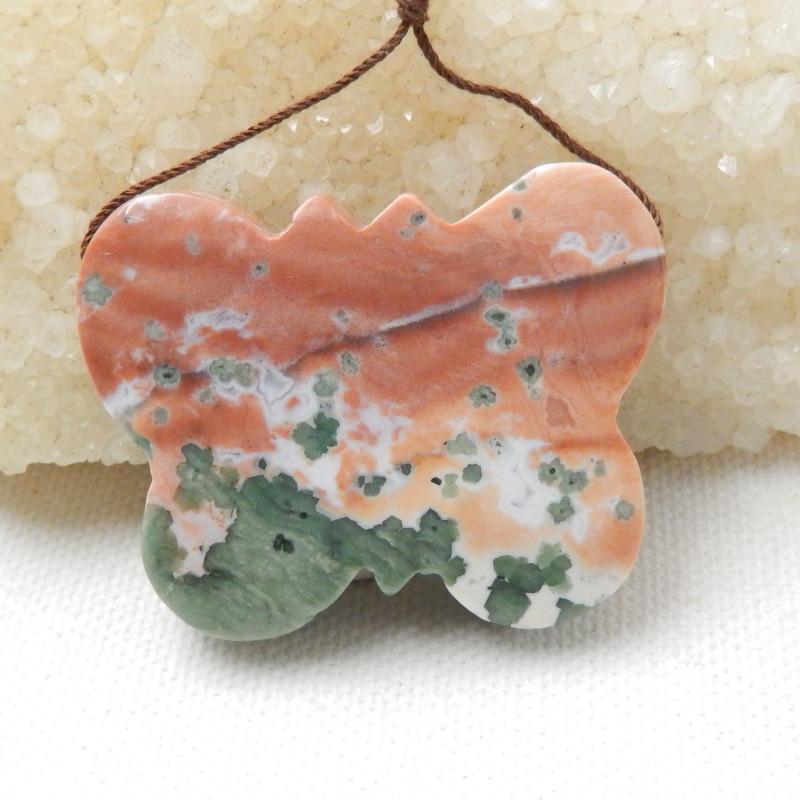 Butterfly carving, ocean jasper butterfly pendant E791