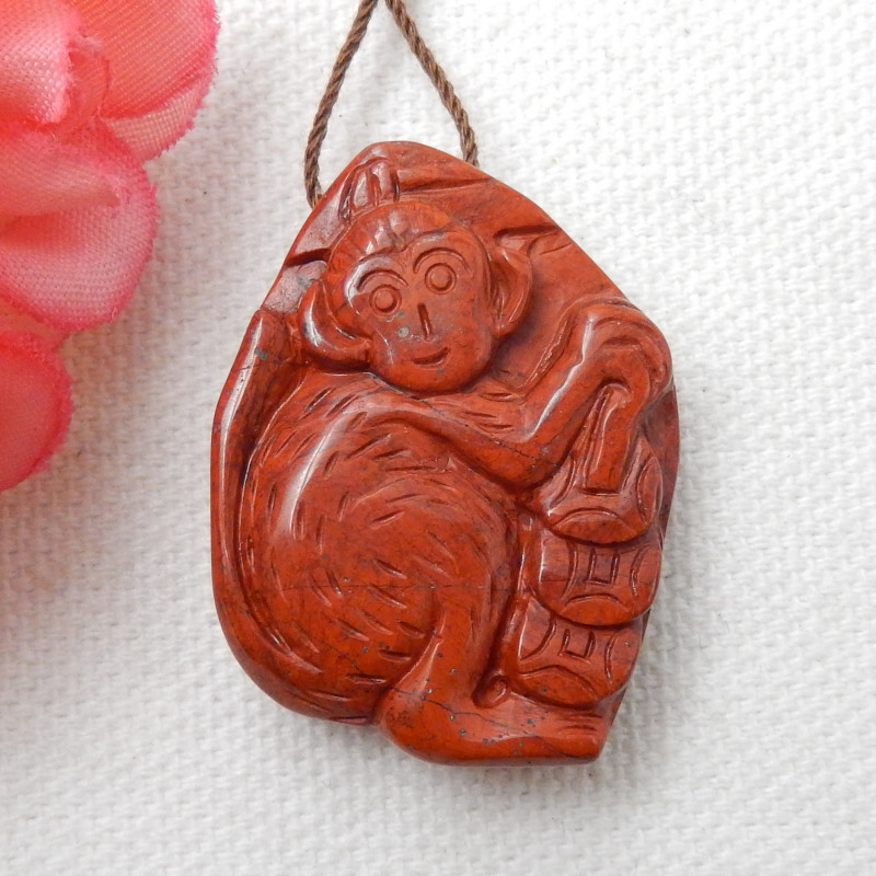 65.5ct Natural Red River Jasper Carved Monkey Necklace Pendant,High Quality