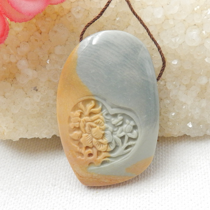 112 ct Natural US Picture Jasper Pendant Bead With Flower Carving E797