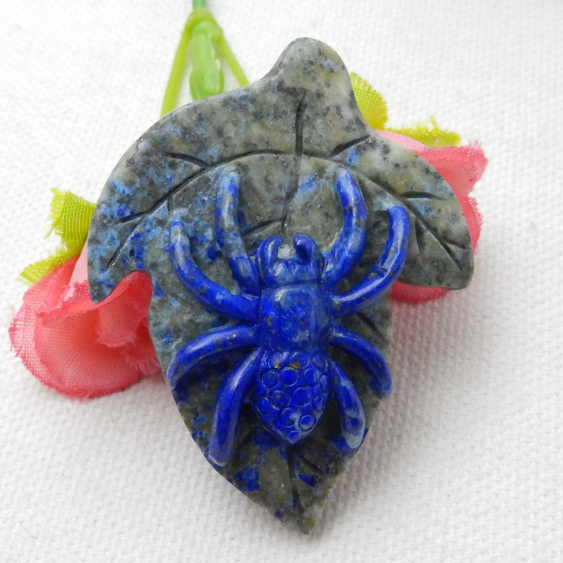 Fashion Spider Carving,Natural Lapis Spider Cabochon E800