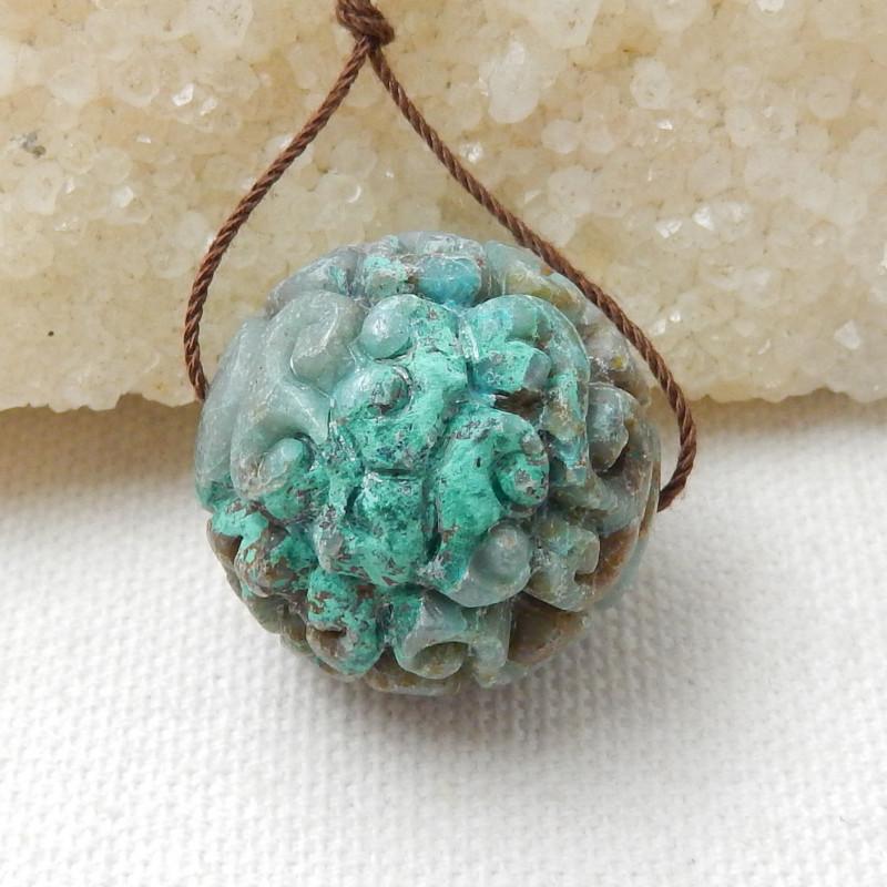 94.5cts Stone chrysocolla pendant flower bead ,Designer Making E835