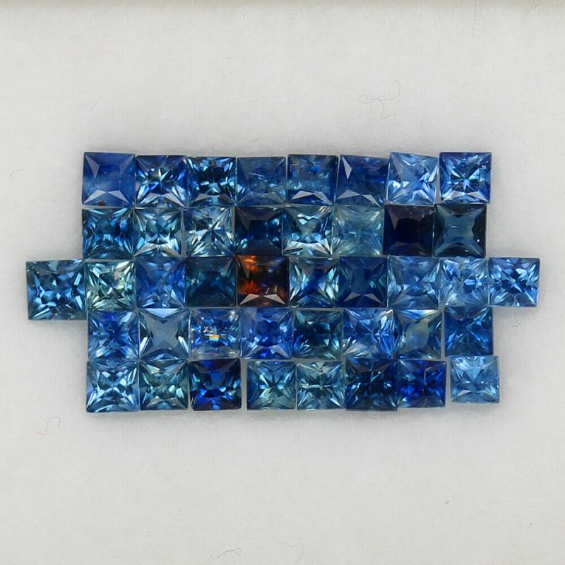 4.01 ct  2.3-2.5 mm. PRINCESS CUT BLUE SAPPHIRE NATURAL GEMSTONE 43PCS.