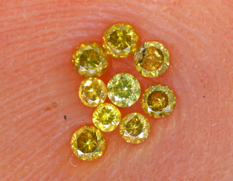 0.065- CTS  YELLOW  DIAMONDS  FACETED PARCEL ( 9 PCS) SD-381