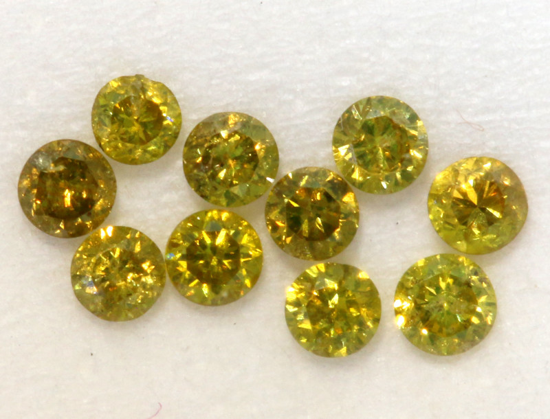 0.14- CTS  YELLOW  DIAMONDS  FACETED PARCEL ( 10 PCS) SD-383