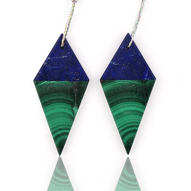 New design! Malachite and Lapis Lazuli Intarsia Diamond Gemstone Earrings B