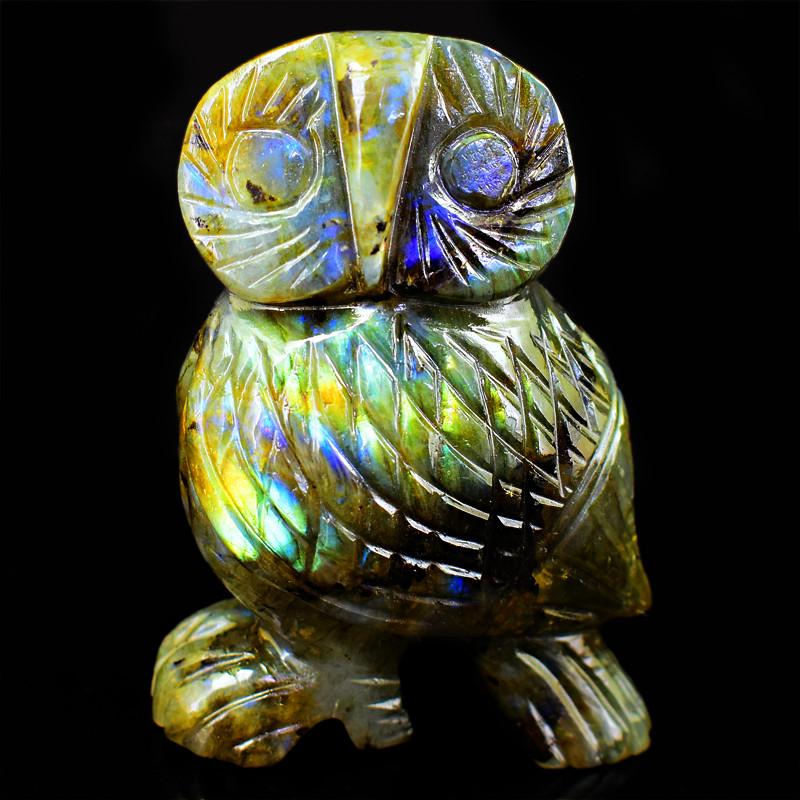 Genuine 1295.00 Cts  Labradorite Amazing Flash Carved Owl