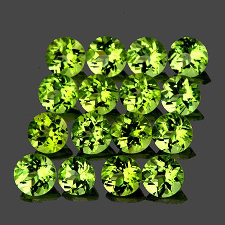 2.50 mm Round 40 pcs 2.85cts Green Peridot [VVS]