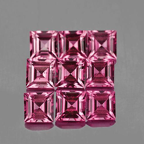 3.00 mm Square 9 pcs 1.38cts Pink Tourmaline [VVS]