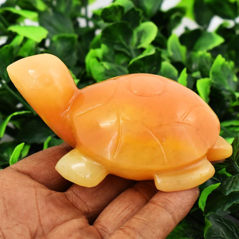 Genuine 740.00 Cts Orange Aventurine Turtle