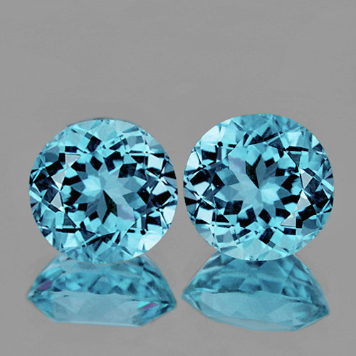 7.00 mm Round 2 pcs 2.80cts Sky Blue Topaz [VVS}