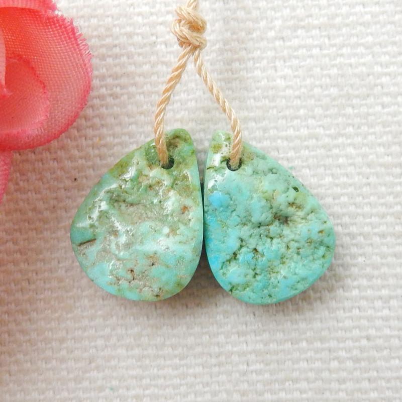 14cts Raw Turquoise Earrings,Handmade Gemstone ,Turquoise Earrings F9