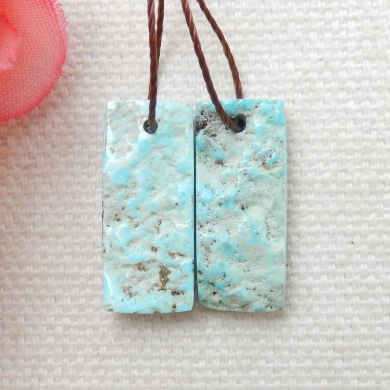 9.5cts Raw Turquoise Earrings,Handmade Gemstone ,Turquoise Earrings F60
