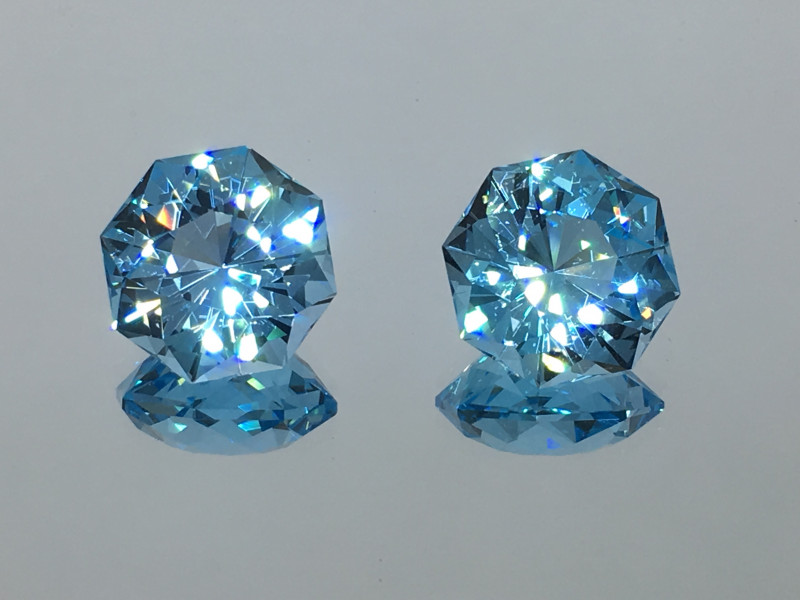 14.17 Carat IF Topaz Swiss Blue Master Cut Matched Pair Breath Taking !
