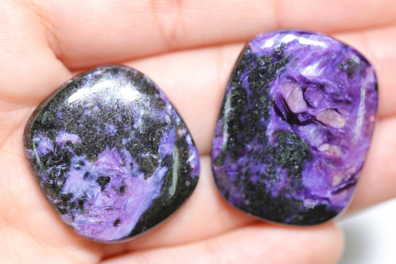 72 CTS   TWO CHAROITE CABOCHON BR 2464