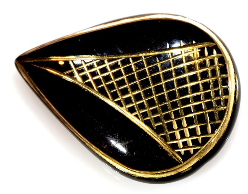 20.34 -CTS BLACK ONYX 24K GOLD ENGRAVED TBG-3372