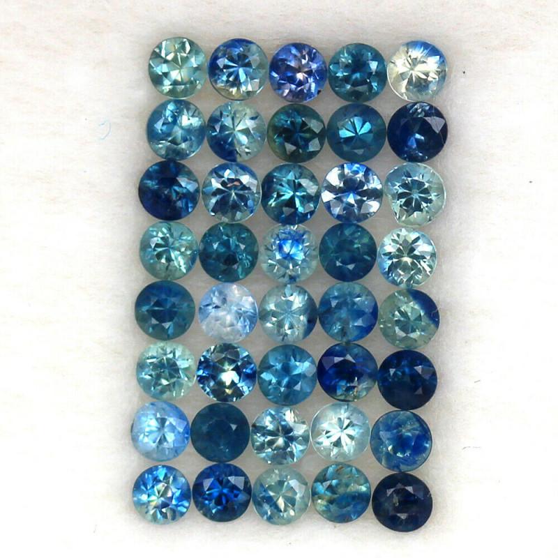 4.03 ct. 2.7 mm .NATURAL GEMSTONE MULTI COLOR SAPPHIRE DIAMOND CUT 40PCS