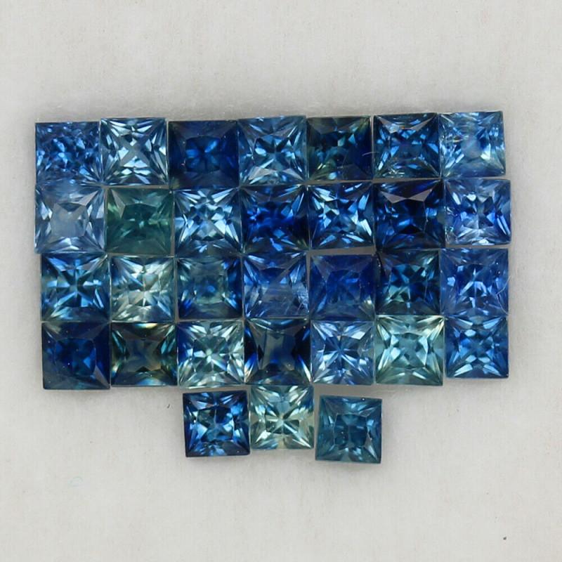 4.05 ct. 2.5-2.8 mm. NATURAL BLUE SAPPHIRE PRINCESS CUT 31PCS