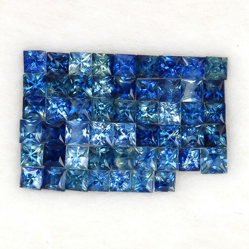 4.05 ct. 2.3-2.5 mm. PRINCESS CUT BLUE SAPPHIRE NATURAL GEMSTONE 52PCS.