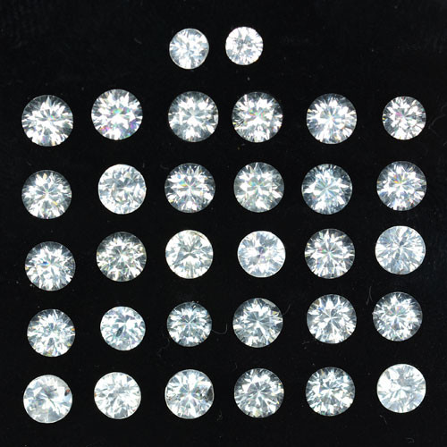 11.58 Cts Natural Sparkling White Zircon 4mm Round Cut 32Pcs Tanzania