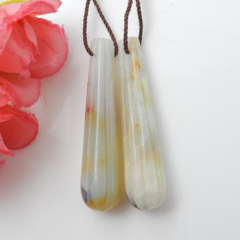 43cts Carved Earrings ,Gemstone Earrings ,Natural Amazonite Earrings F119