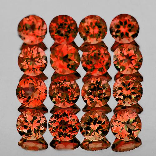 3.00 mm Round 20 pcs 2.85cts Orange Red Garnet [VVS]