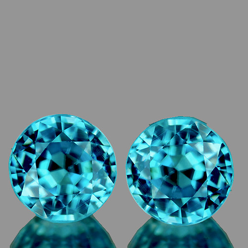 6.00 mm Round 2 pcs 2.51cts Blue Zircon [VVS]
