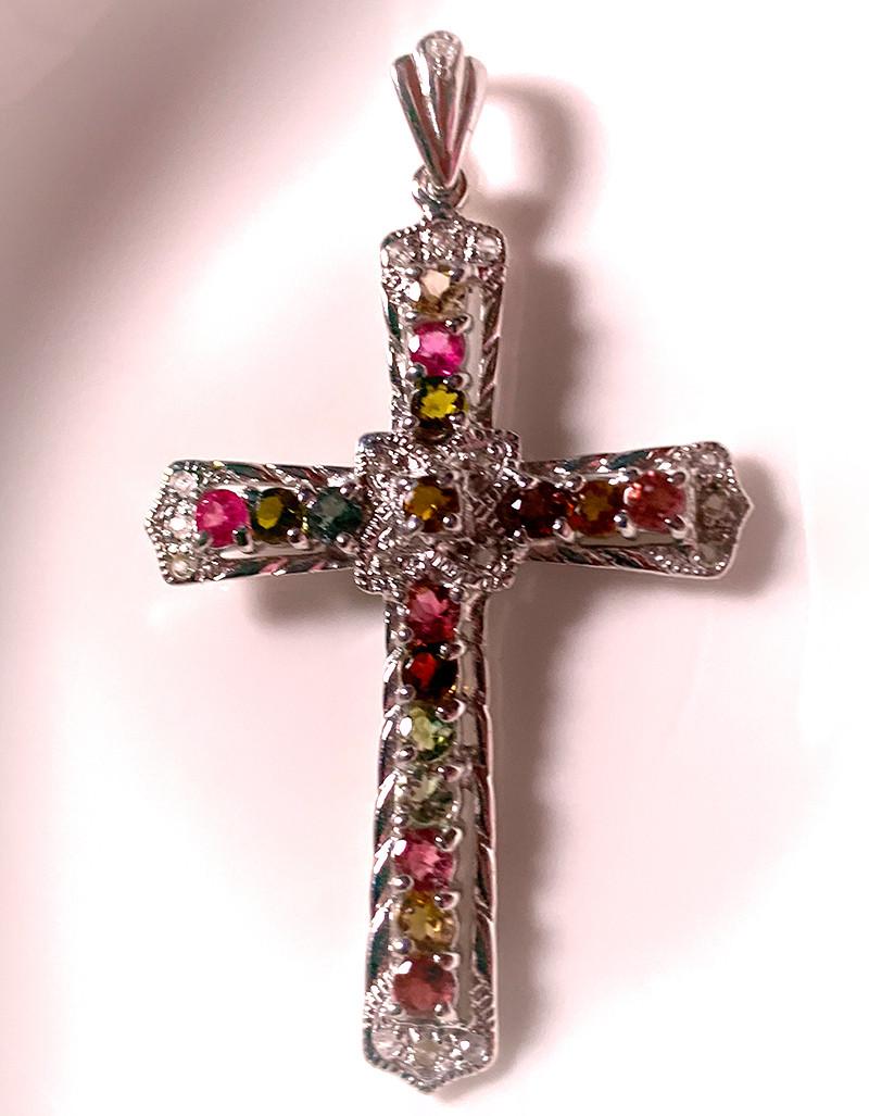 ⭐A large beautiful Tourmaline Topaz Cross - .925 Sterling Silver