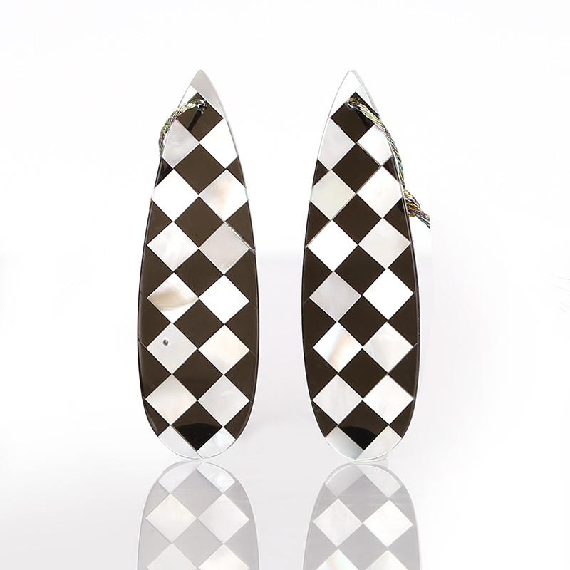 New design! M.O.P and Obsidian Intarsia Gemstone Earrings Bead, 42x13x2mm B