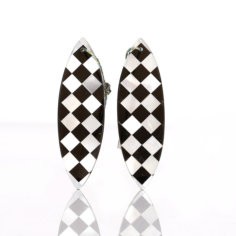 New design! M.O.P and Obsidian Intarsia Gemstone Earrings Bead, 42x13x2mm B