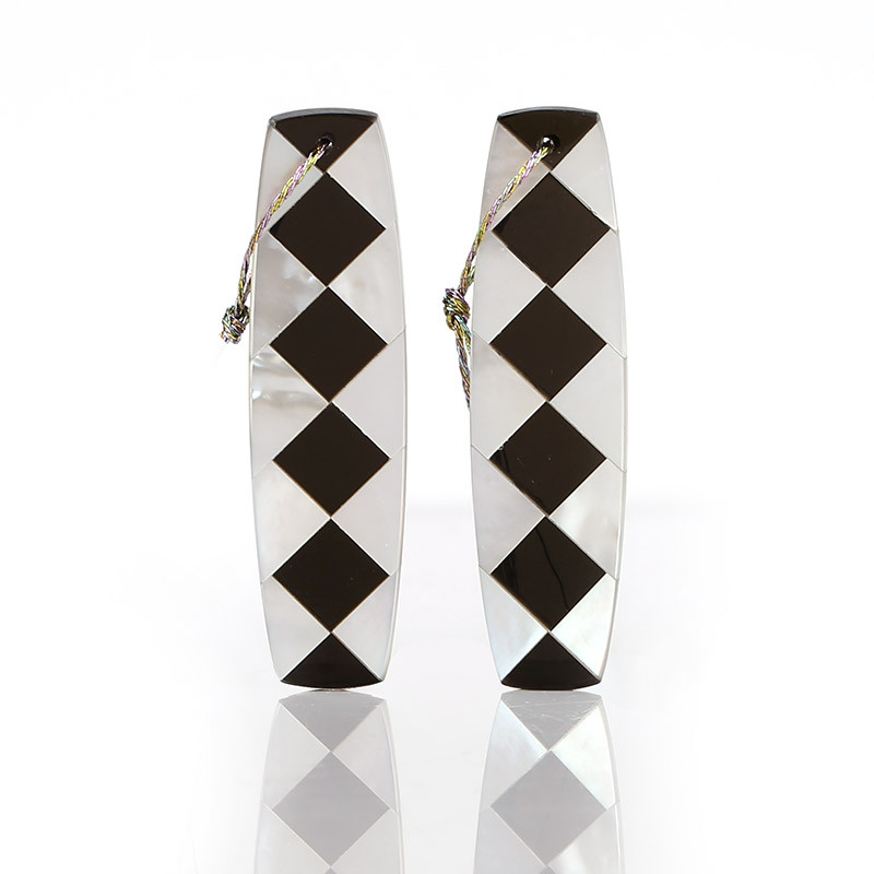 New design! M.O.P and Obsidian Intarsia Gemstone Earrings Bead, 42x12x2.5mm