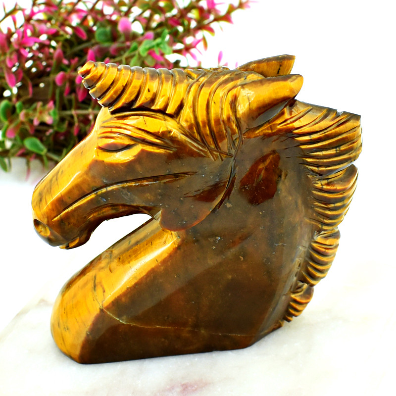 Genuine 1078.00 Cts Golden Tiger Eye Horse Head
