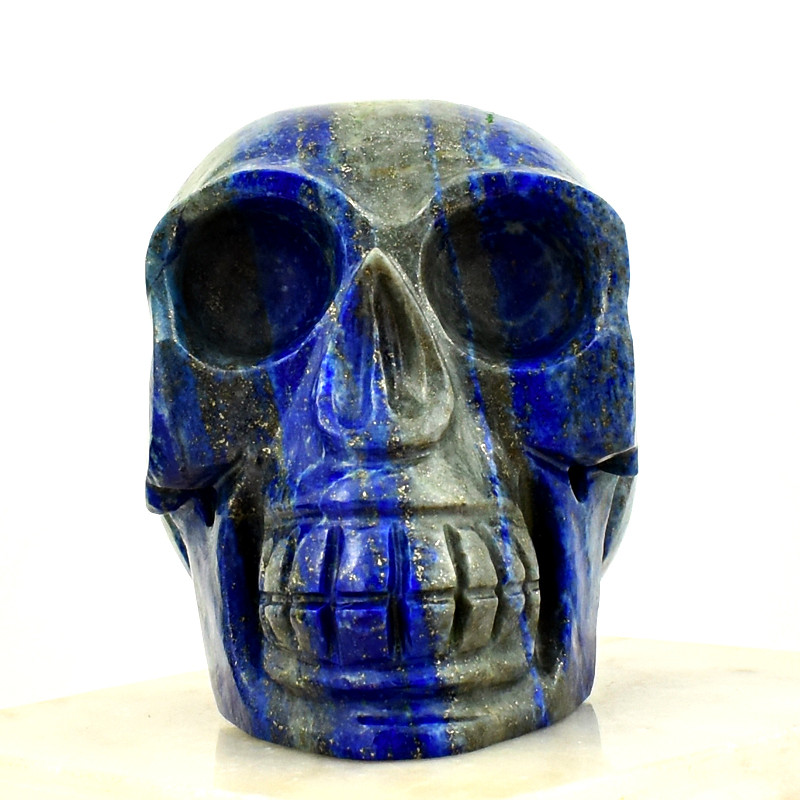 Genuine 1980.00 Cts Blue Lapis Lazuli Carved Skull