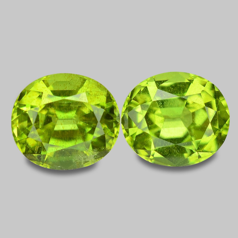 4.02 Cts 2pcs Amazing Rare Fancy Green Natural Peridot Gemstone