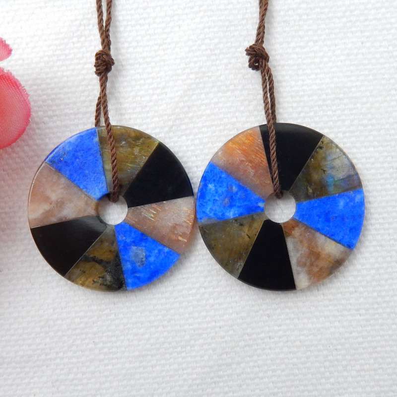 35cts Fashion Obsidian,Lapis,Labradorite,Sunstone Intarsia Earrings F181