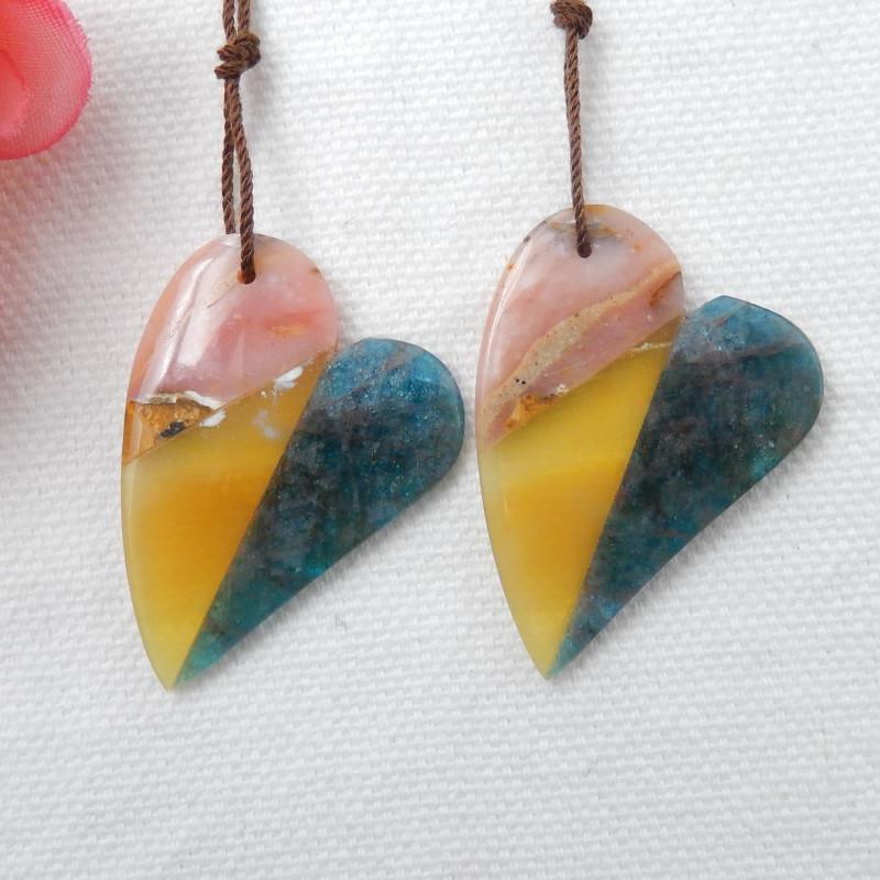 41cts Pink Opal,Yellow Opal,Apatite Intarsia Heart Earrings F174