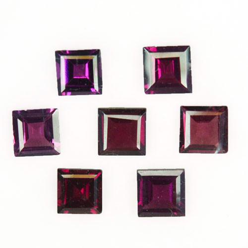 5.08 Cts Natural Grape Garnet 5mm Square Cut 7Pcs Mozambique