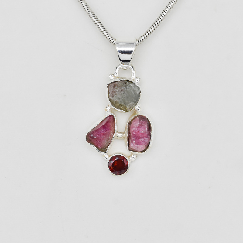 TOURMALINE PENDANT 925 STERLING SILVER NATURAL GEMSTONE FREE SHIPPING   JP1