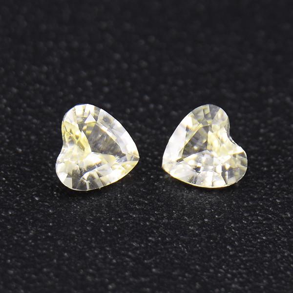 Unheated Yellow  Sapphire HEART Pair well-cut (01691)