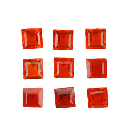 1.60 Cts Natural Reddish Orange Fire Opal 3.5mm Square 9Pcs Mexican