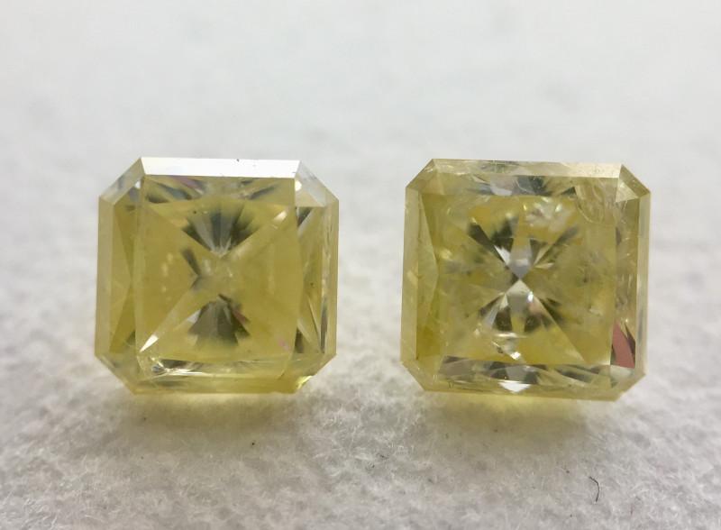 IGL Certificate Radiant 2.09 Carat  Natural Fancy Yellow Loose Diamond Pair